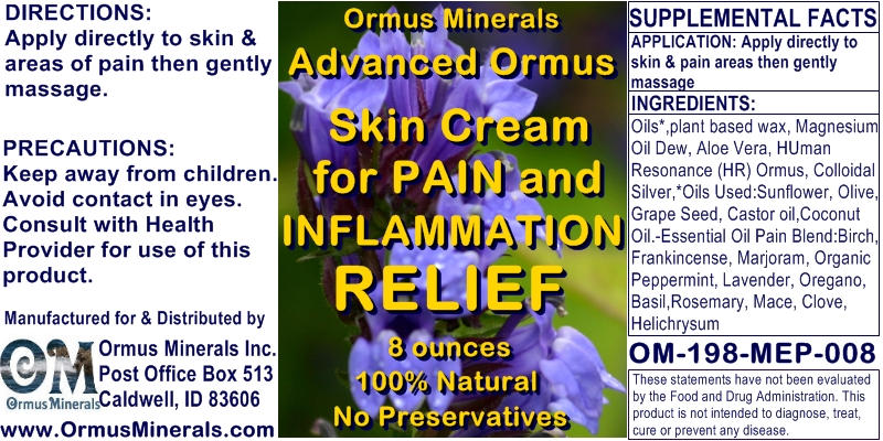 Ormus Minerals Advanced Ormus Skin Cream for Pain
